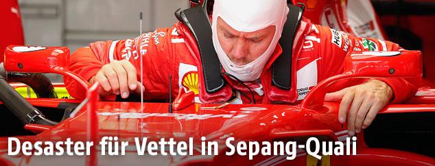 Enttäuschter Sebastian Vettel (Ferrari)