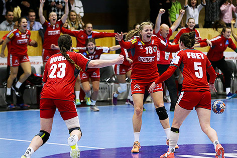 Österreich-Spielerinnen jubeln