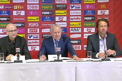 Pressekonferenz mit Hans Rinner, Leo Windtner und Peter Schöttel