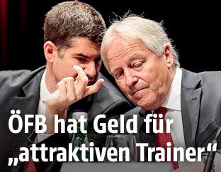Geschäftsführer der ÖFB Wirtschaftsbetriebe GmbH Bernhard Neuhold und Präsident Leo Windtner