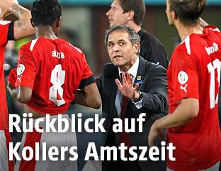 ÖFB-Teamchef Marcel Koller mit Spielern