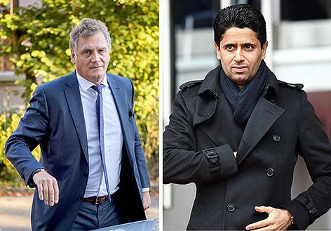 Früherer FIFA-Generalsekretär Jerome Valcke und Nasser al-Chelaifi (Präsident PSG)