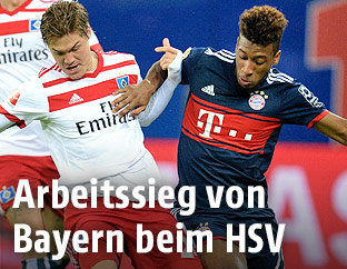 Gotoku Sakai (HSV) und Kingsley Coman (Bayern)