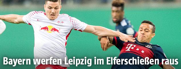 Marcel Sabitzer (Leipzig) und Thiago (Bayern)