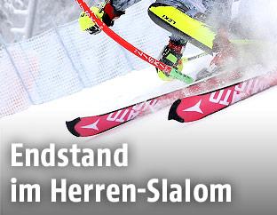 Skifahrer und Slalomstange