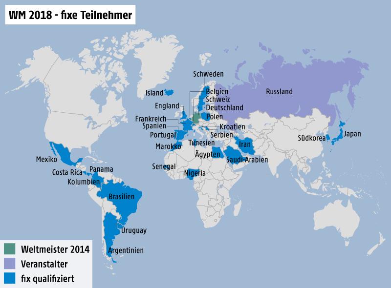Weltkarte mit den fixen Teilnehmern der WM 2018