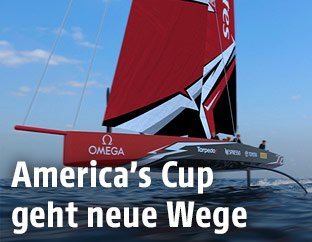 Ein Rendering des Bootes AC75 des Emirates Team New Zealand
