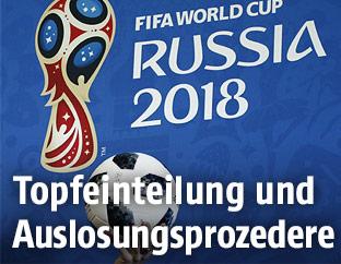 Logo von Russland 2018 mit Fußball