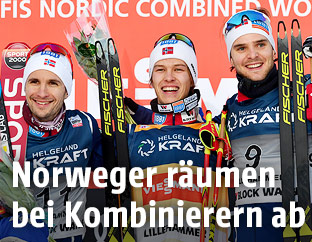 Jan Schmid, Espen Andersen und Joergen Graabak (NOR)