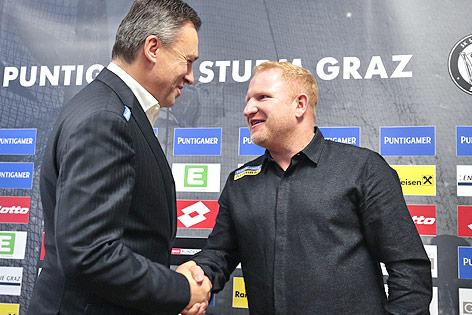 Sturm Graz-Präsident Christian Jauk und Trainer Heiko Vogel