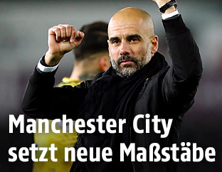 Jubel von Pep Guardiola (Trainer von Manchester City)