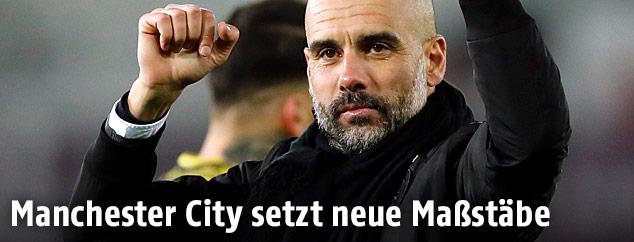 Jubel von Pep Guardiola (Trainer von Manchester City)