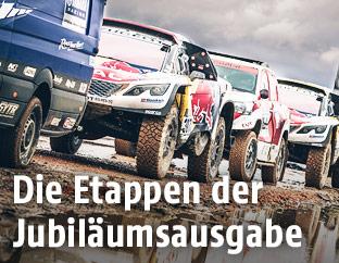 Fahrzeuge bei der Rallye Dakar