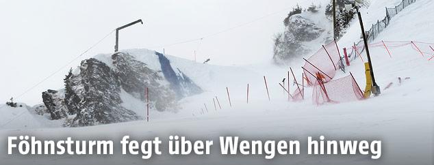 Starker Wind auf der Piste in Wengen