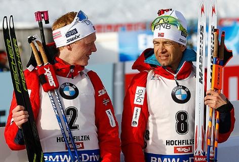 Johannes Thingnes Bö und Ole Einar Björndalen