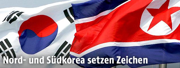 Südkoreanische und Nordkoreanische Flagge
