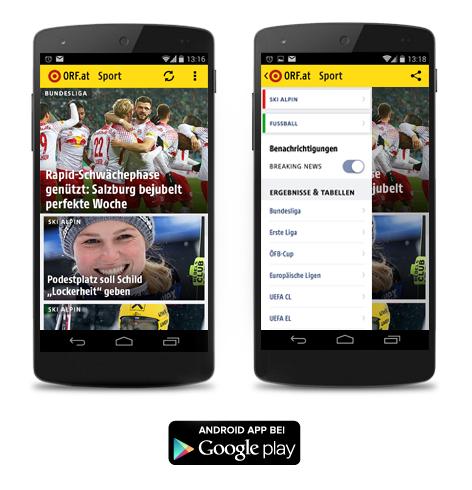 Screenshots der ORF.at-Sport-App