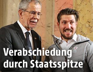 Bundespräsident Alexander Van der Bellen und Marcel Hirscher