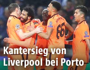 Jubelnde Liverpool-Spieler