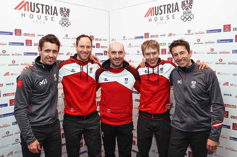 Lukas Klapfer, Bernhard Gruber, Trainer Christoph Eugen, Franz Josef Rehrl und Wilhelm Denifl