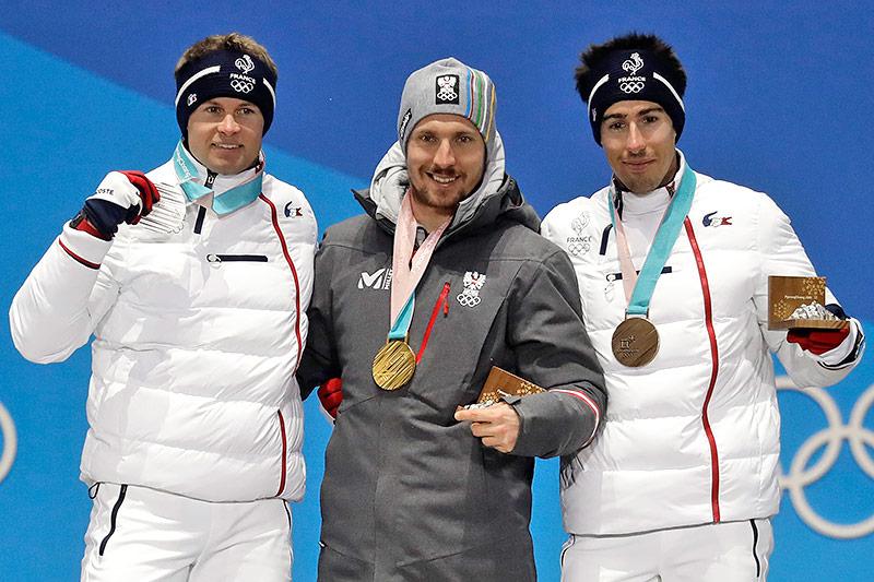 Alexis Pinturault, Marcel Hirscher und Muffat-Jeandet mit Medaillen