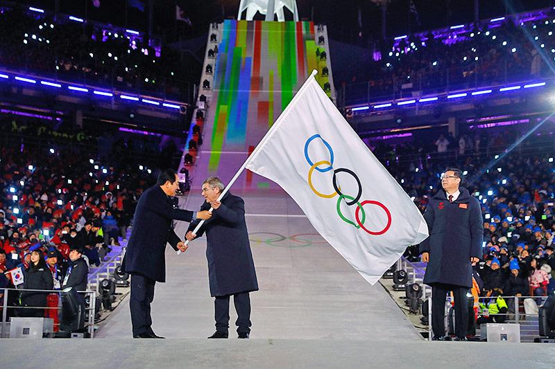 IOC-Präsident Thomas Bach und Bürgermeistert von Pyeongchang Sim Jae-guk