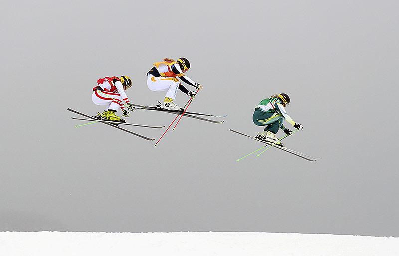 Frauen Skicross-Finale mit Lisa Andersson (Schweden), Andrea Limbacher (Österreich) und Sami Kennedy-Sim (Australien)