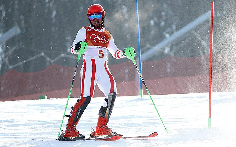 Enttäuschter Marcel Hirscher nach seinem Ausfall im Slalom