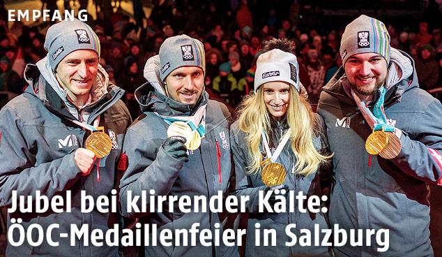 Matthias Mayer, Marcel Hirscher, Anna Gasser, David Gleirscher