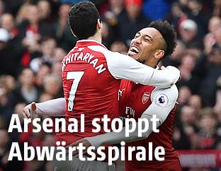 Jubel von Henrikh Mkhitaryan und Pierre-Emerick Aubameyang (beide Arsenal)