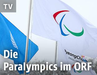 Paralympics-Flagge in Pyeongchang