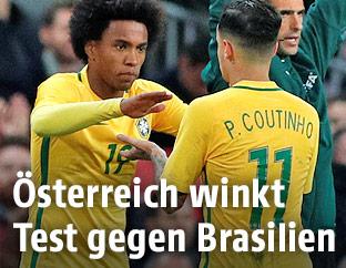 Die brasilianischen Teamspieler Willian und Philippe Coutinho