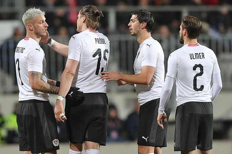 Marko Arnautovic, Sebastian Prödl, Aleksandar Dragovic (AUT) und Andreas Ulmer
