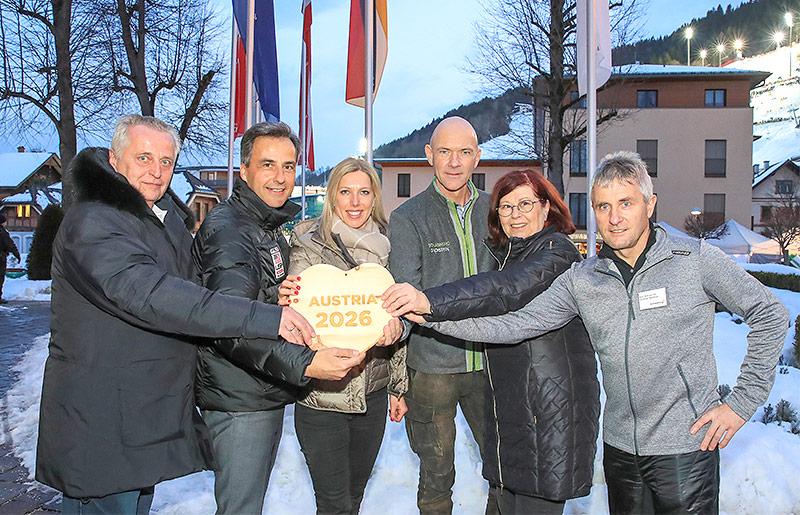 Rudolf Hundstorfer, Siegfried Nagl (Graz), Marion Kreiner, Juergen Winter (Schladming), Christiane Moerth (Oesterreichischer Eiskunstlaufverband) und Konrad Walk (Hochfilzen)