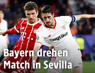 Szene aus dem Match Sevilla gegen Bayern