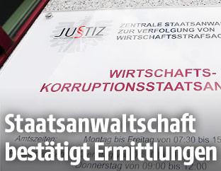 Hinweisschild mit der Aufschrift Wirtschafts- und Korruptionsstaatsanwaltschaft