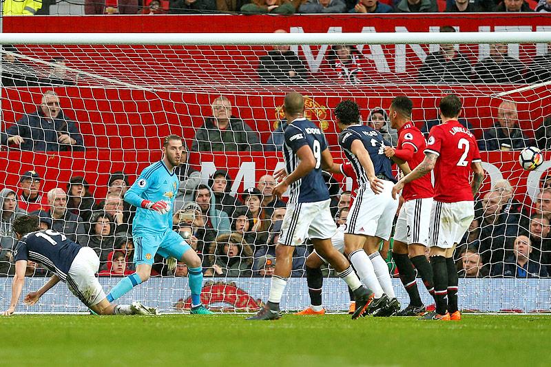 Tor von Jay Rodriguez (West Bromwich) gegen Manchester United