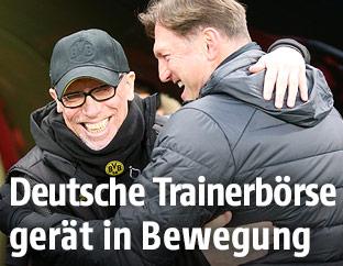 Peter Stöger (Dortmund) und Ralph Hasenhüttl (RB Leipzig)