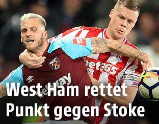 Marko Arnautovic (West Ham) und Ryan Shawcross (Stoke)