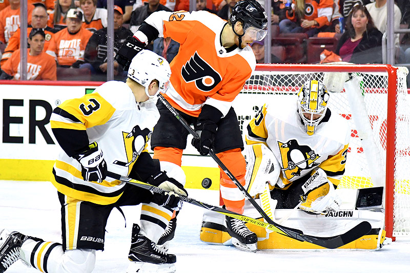 Michael Raffl (Philadelphia Flyers) im Spiel gegen die Pittsburgh Penguins