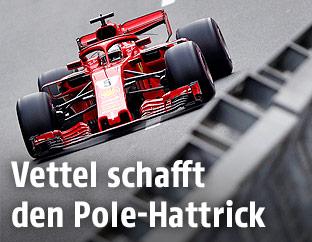 Ferrari-Fahrer Sebastian Vettel auf der Strecke