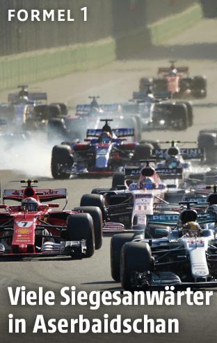 Formel-1-Autos nach dem Start