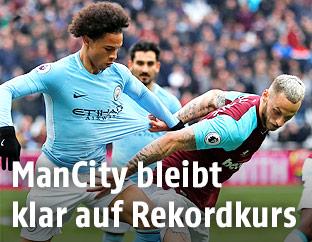 Leroy Sane (Manchester City) und Marko Arnautovic (West Ham United)