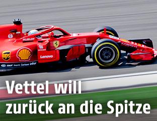 Sebastian Vettel (Ferrari) auf der Strecke