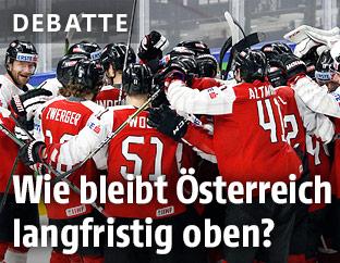 Jubelndes österreichisches Eishockey-Team