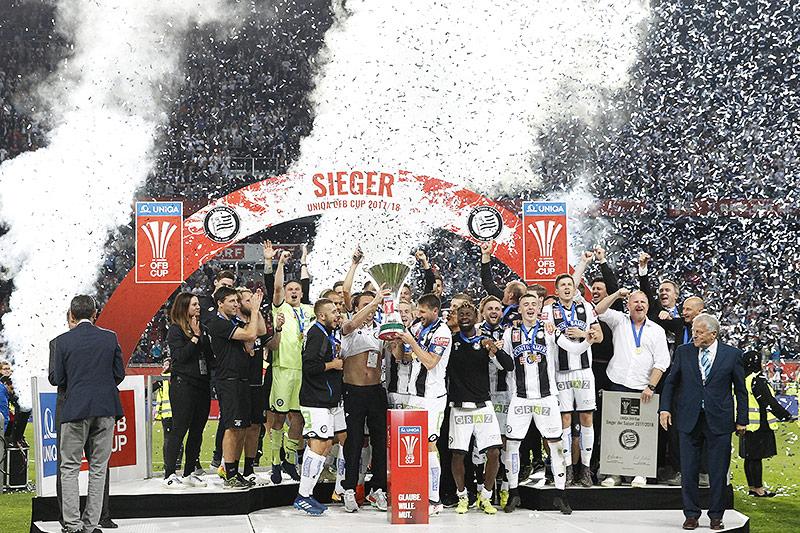 Jubel bei Sturm während der Uniqa ÖFB Cup-Final-Begegnung zwischen SK Puntigamer Sturm Graz und Red Bull Salzburg
