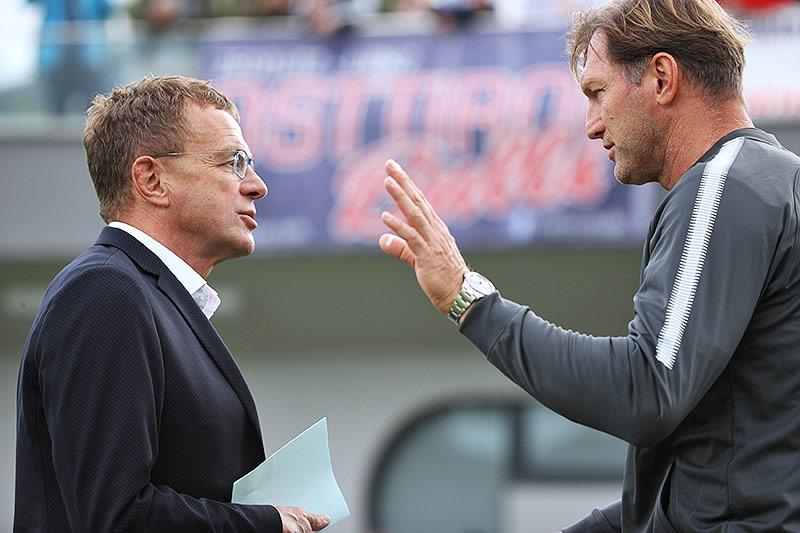 RB Leipzig-Sportdirektor Ralf Rangnick und Trainer Ralph Hasenhüttl