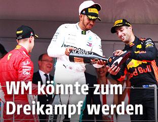 Sebastian Vettel, Lewis Hamilton und Daniel Ricciardo
