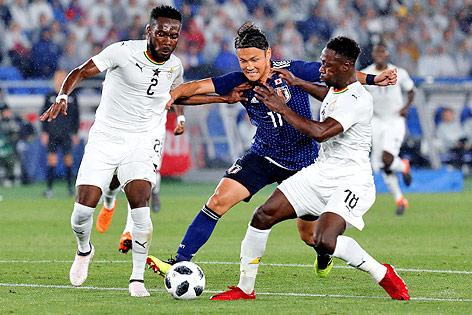 Spielszene des freundschaftlichen Fußballländerspiels Japan gegen Ghana