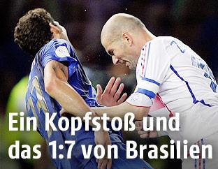 Zidane stößt Materazzi mit dem Kopf nieder